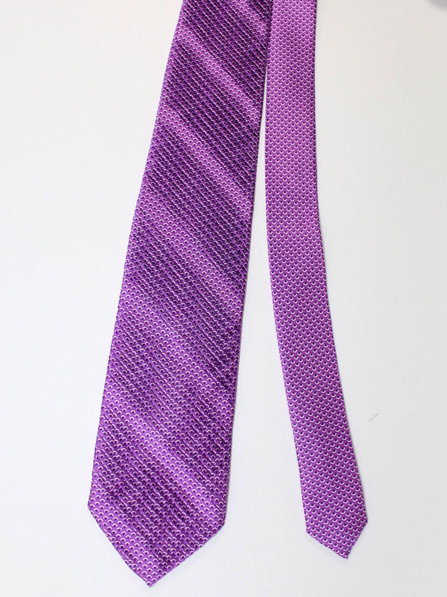Vitaliano Pancaldi PLEATED SILK Tie Purple Geometric Design Hand Made In Italy