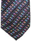 Vitaliano Pancaldi PLEATED SILK Tie Black Multicolored Geometric Design Hand Made In Italy