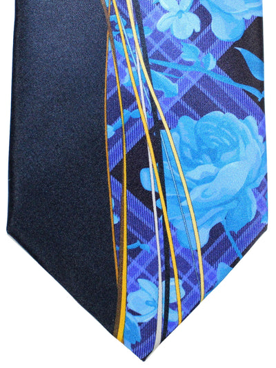Vitaliano Pancaldi Tie Blue Purple Floral Design