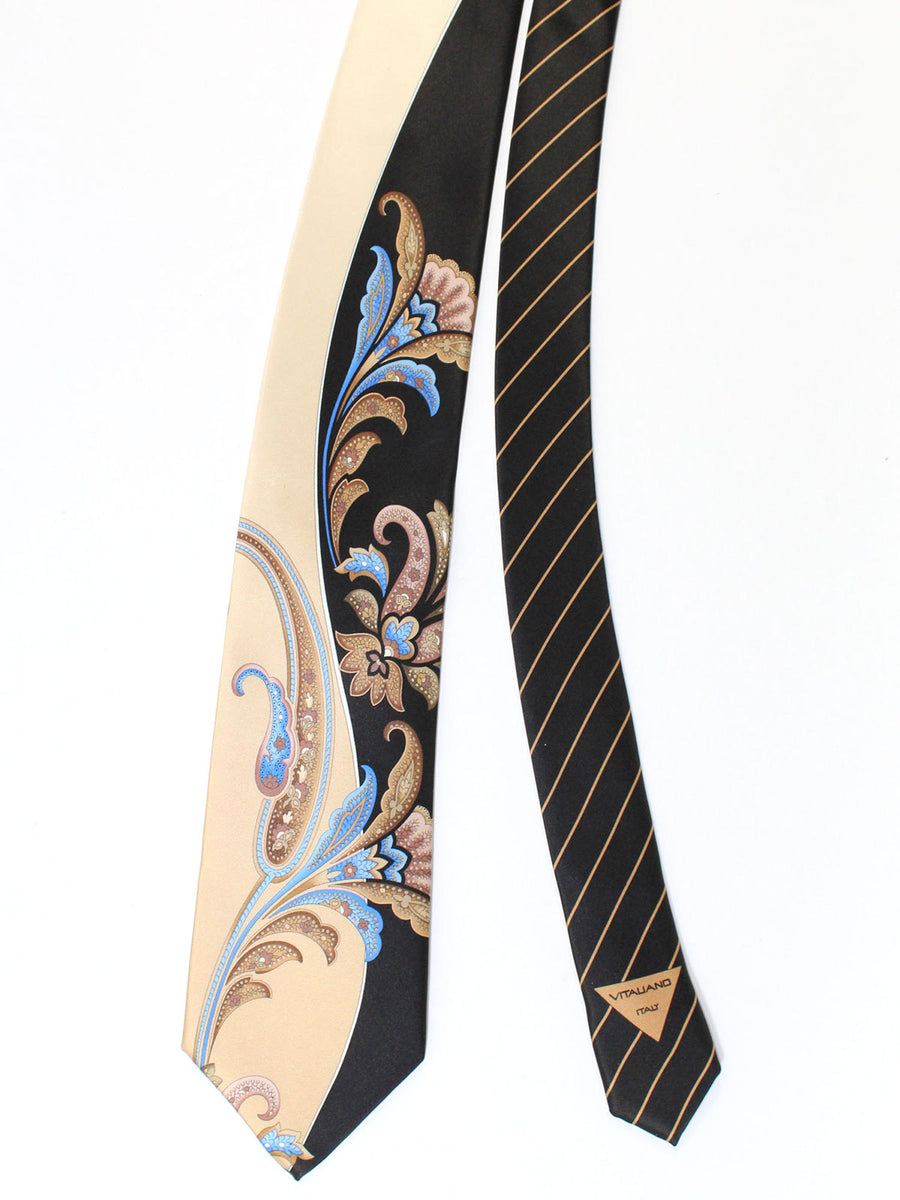 Vitaliano Pancaldi Tie Black Cream Blue Ornamental Design