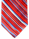 Vitaliano Pancaldi PLEATED SILK Tie Red Blue Stripes