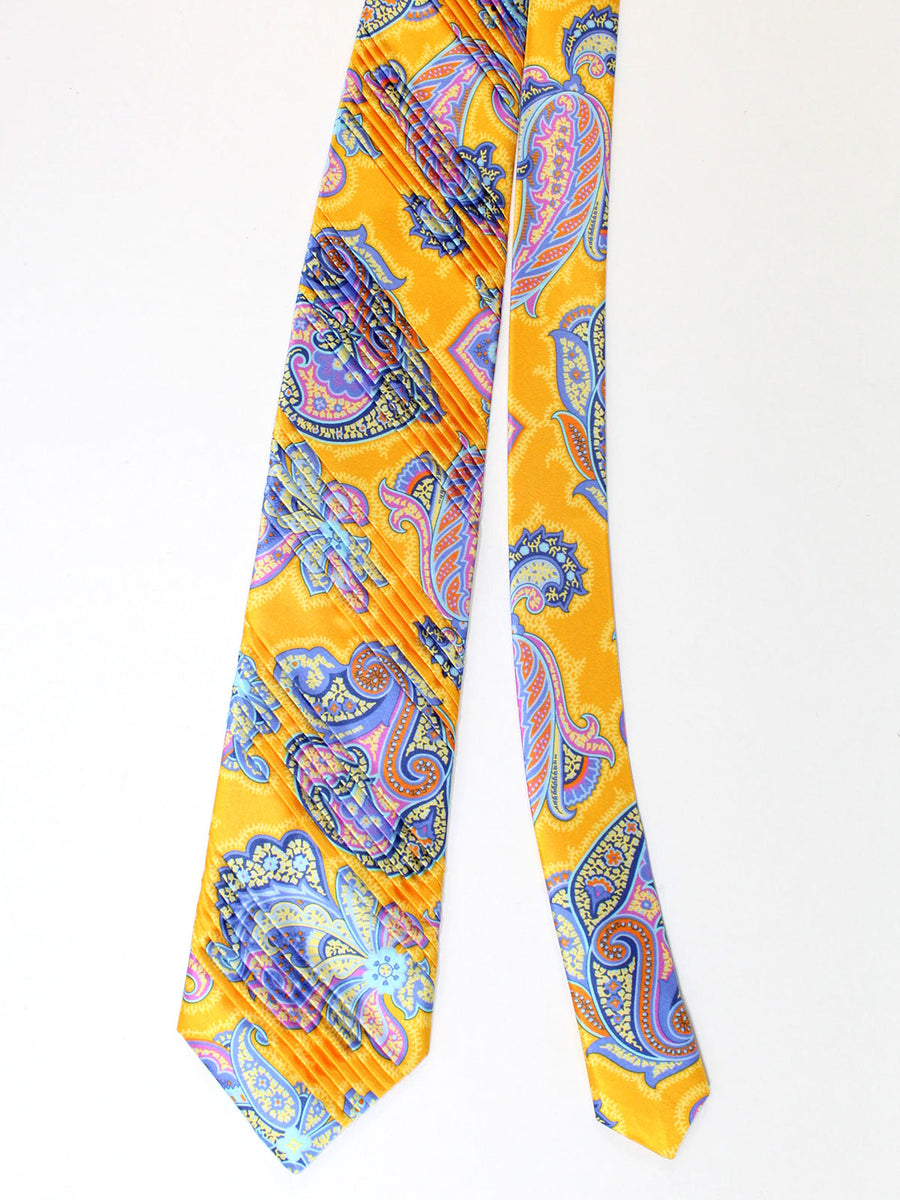 Vitaliano Pancaldi PLEATED SILK Tie Orange Lilac Ornamental