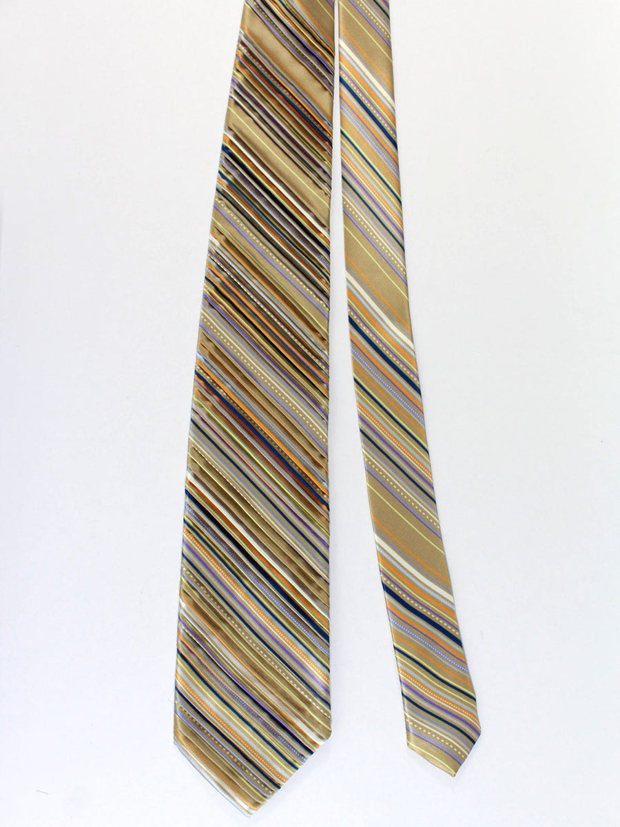 Vitaliano Pancaldi PLEATED SILK Tie Taupe Orange Purple Stripes