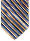 Vitaliano Pancaldi PLEATED SILK Tie Royal Black Orange Stripes