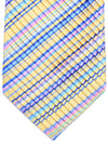 Vitaliano Pancaldi PLEATED SILK Tie Butter Yellow Royal Stripes