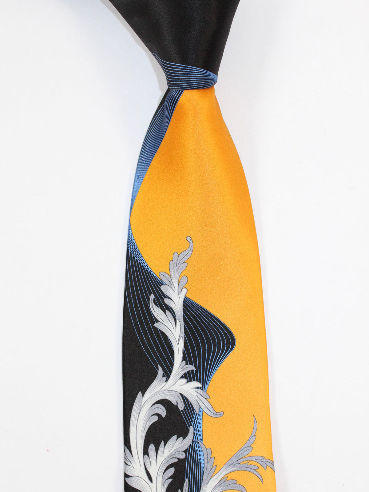 Vitaliano Pancaldi Tie Orange Gray Black Blue Ornamental