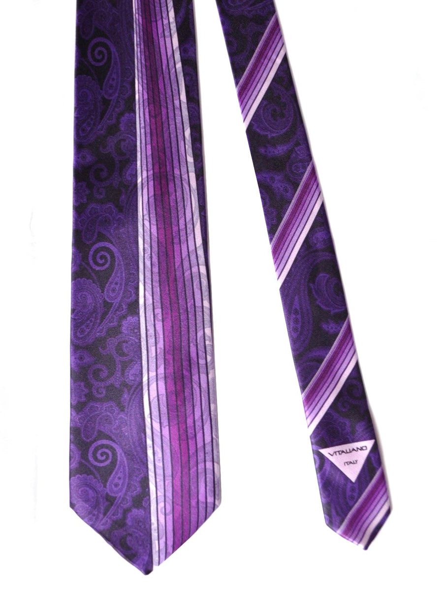 Vitaliano Pancaldi Tie Purple Paisley Stripes Design