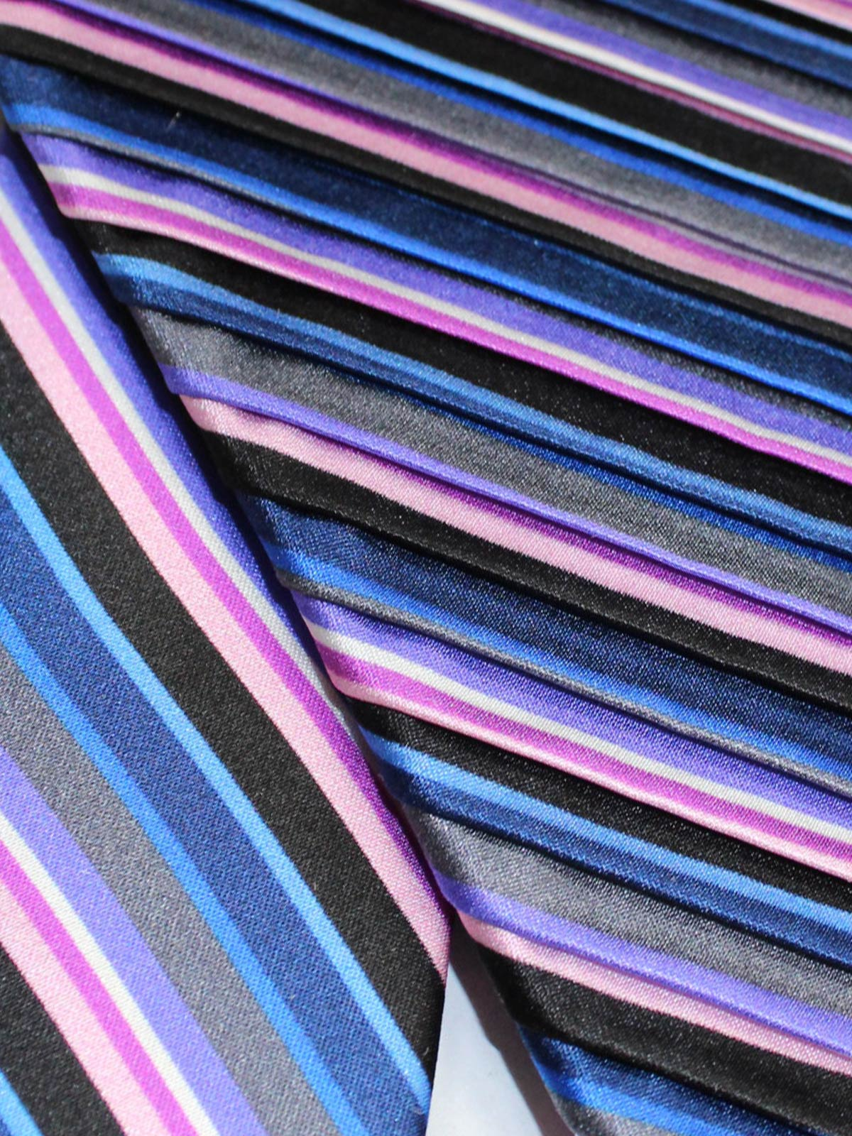 Vitaliano Pancaldi PLEATED SILK Tie Black Gray Purple Pink Stripes