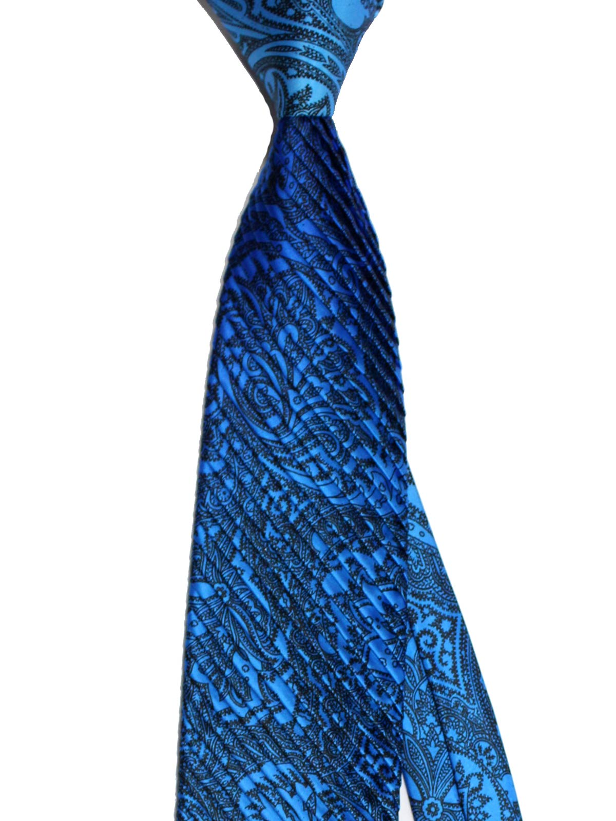Vitaliano Pancaldi PLEATED SILK Tie Royal Blue Black Ornamental