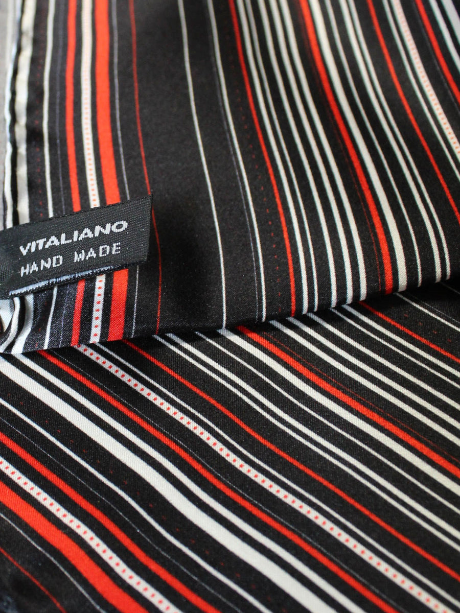 Vitaliano Pancaldi Pocket Square Black Red White Stripes