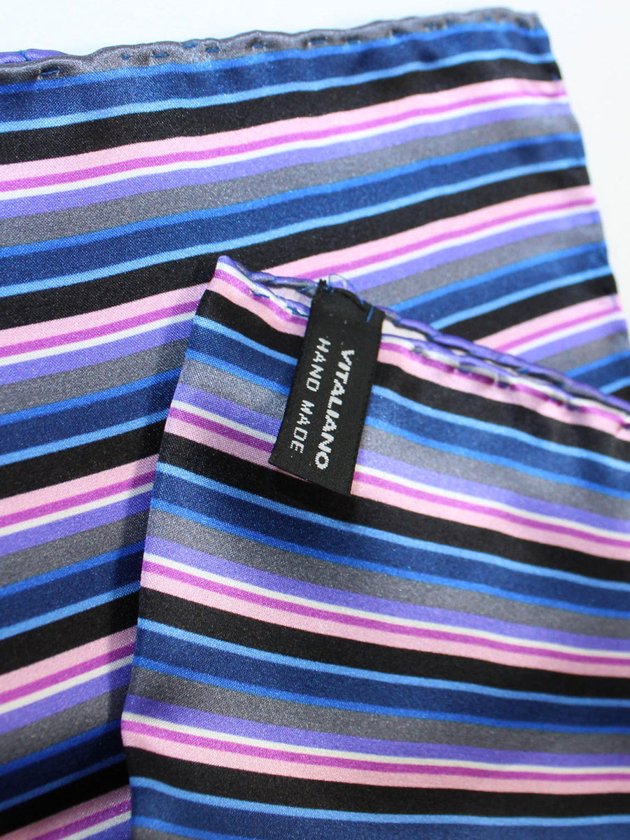 Vitaliano Pancaldi Pocket Square Navy Pink Black Stripes