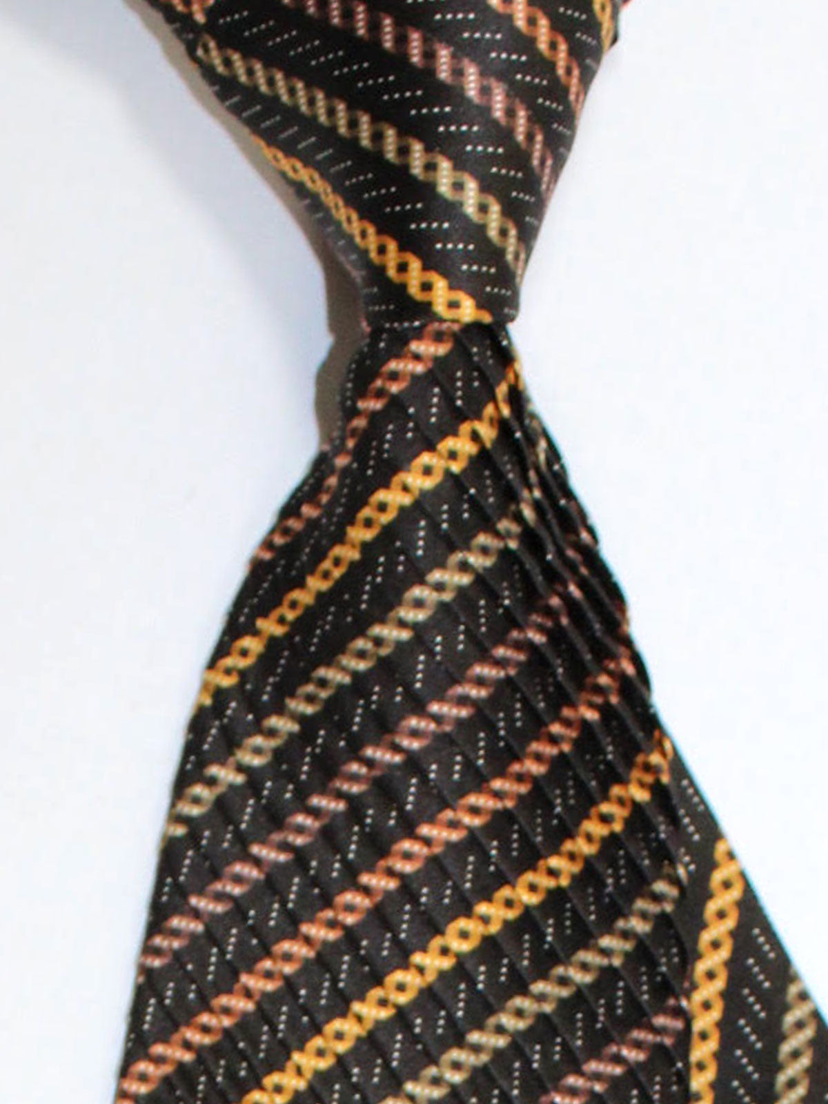 Vitaliano Pancaldi PLEATED SILK Tie Black Brown Orange Stripes