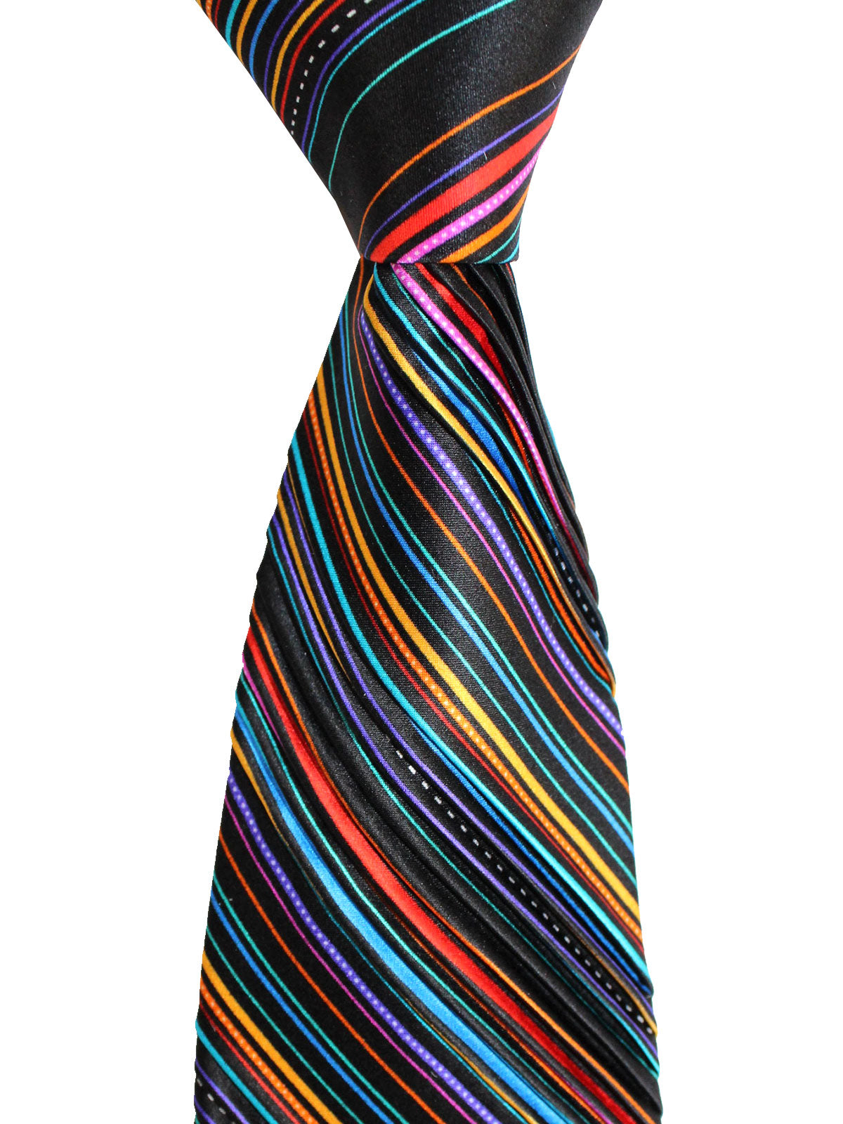 Vitaliano Pancaldi PLEATED SILK Tie Black Multicolored Stripes