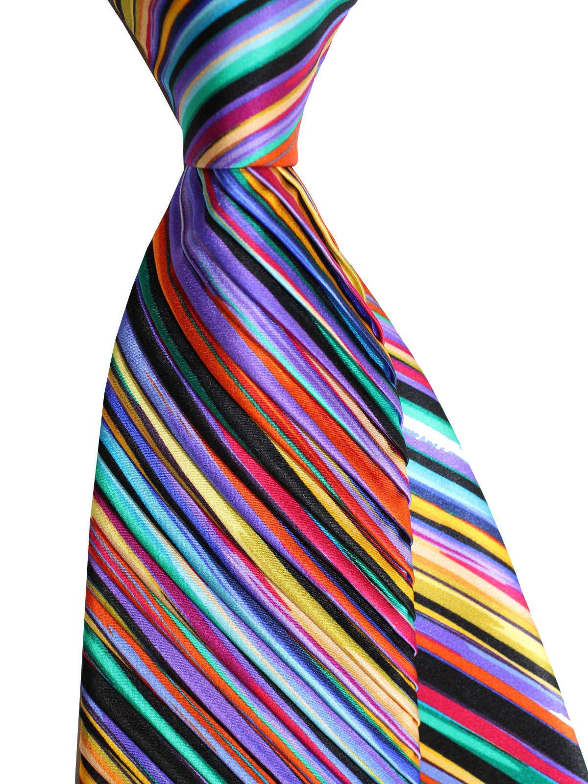 Vitaliano Pancaldi PLEATED SILK Tie Multicolored Stripes