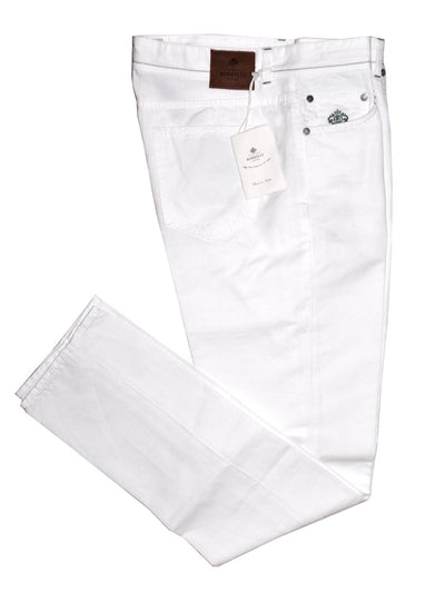 Luigi Borrelli Pants White 5 Pocket Jeans Slim Fit Linen Cotton