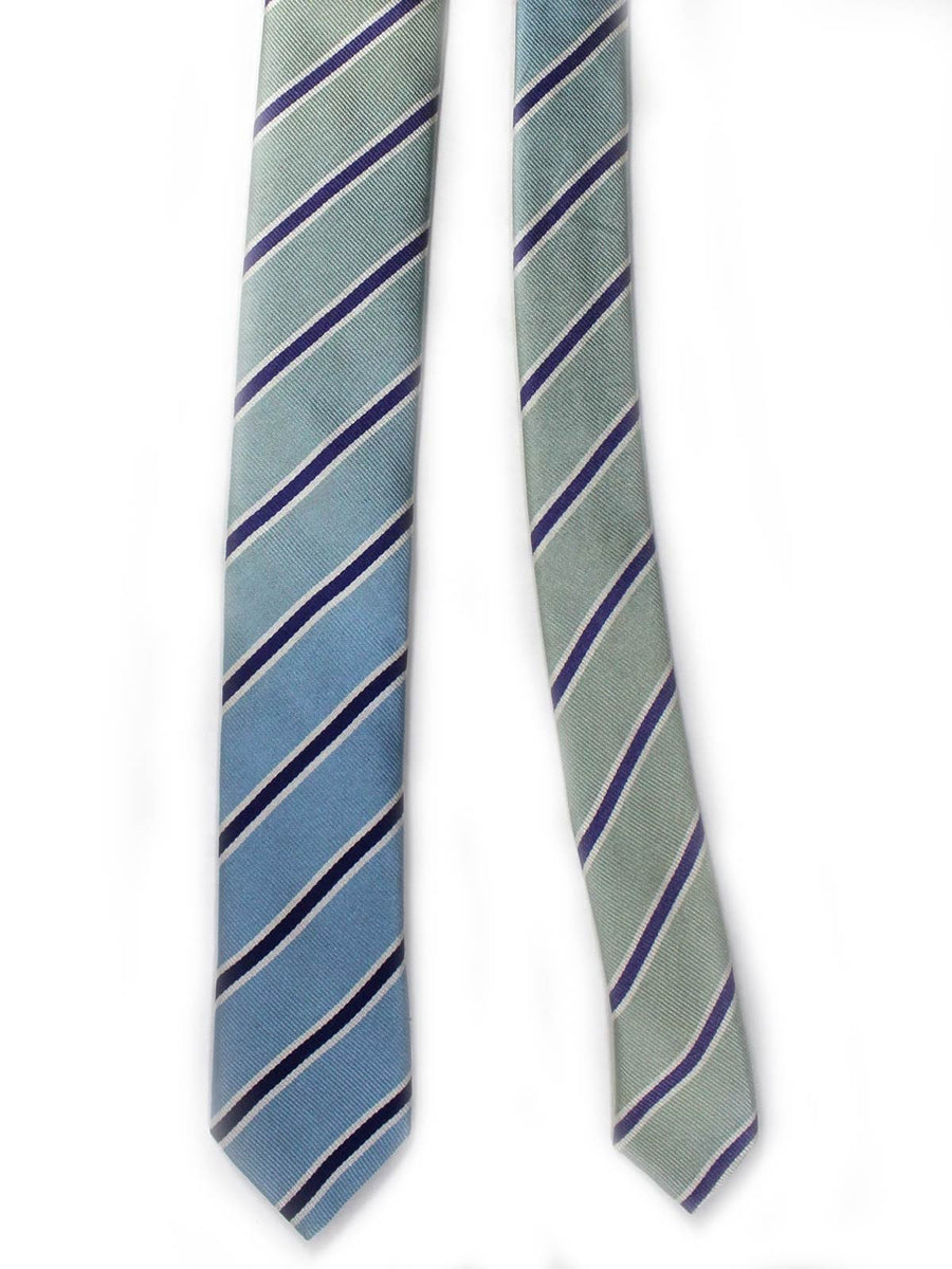 Prada Necktie Sky Blue Royal Silver Stripes Design - Skinny Tie
