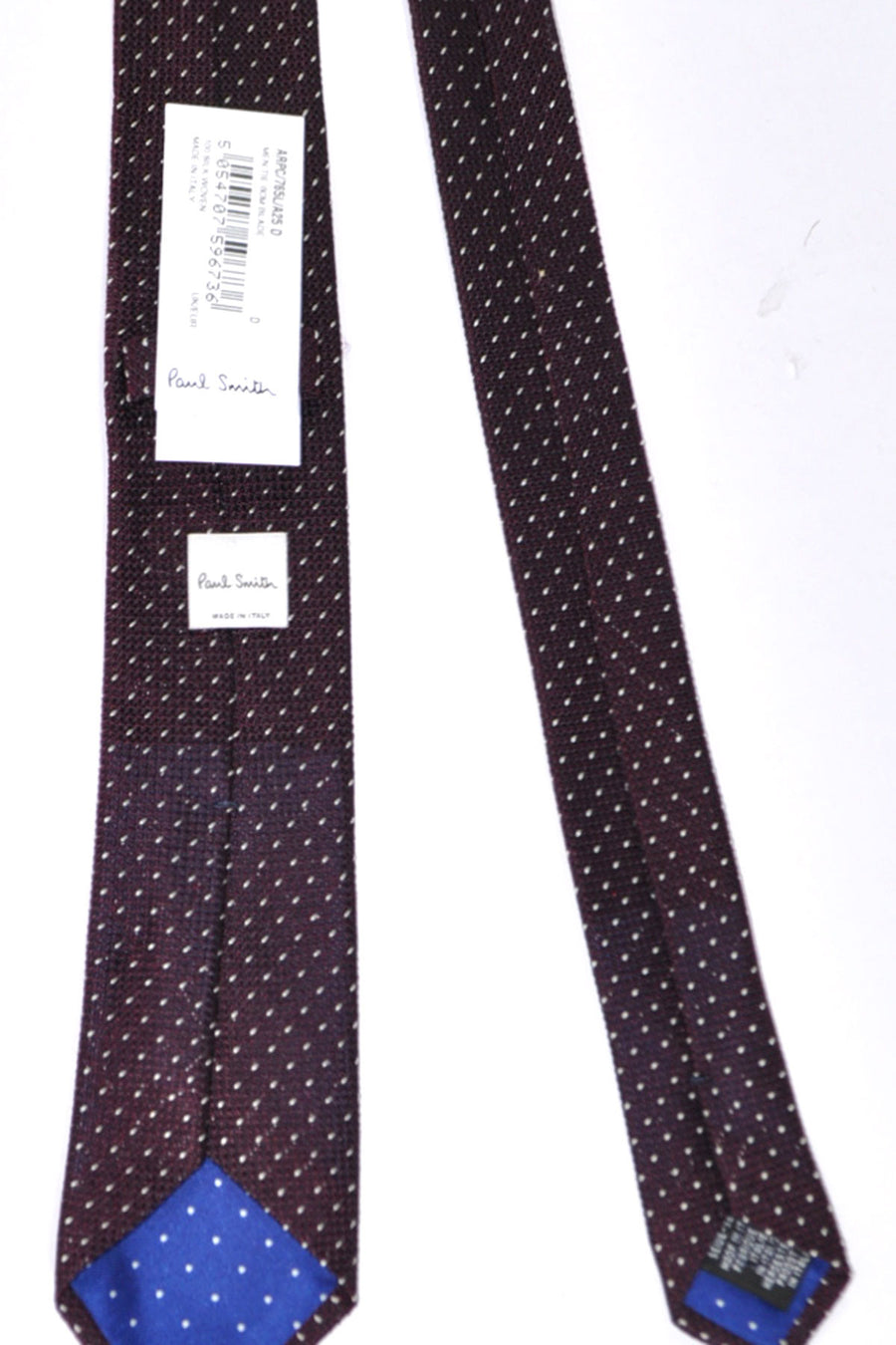 Paul Smith Skinny Tie Brown Burgundy  Silver Mini Dots - FINAL SALE