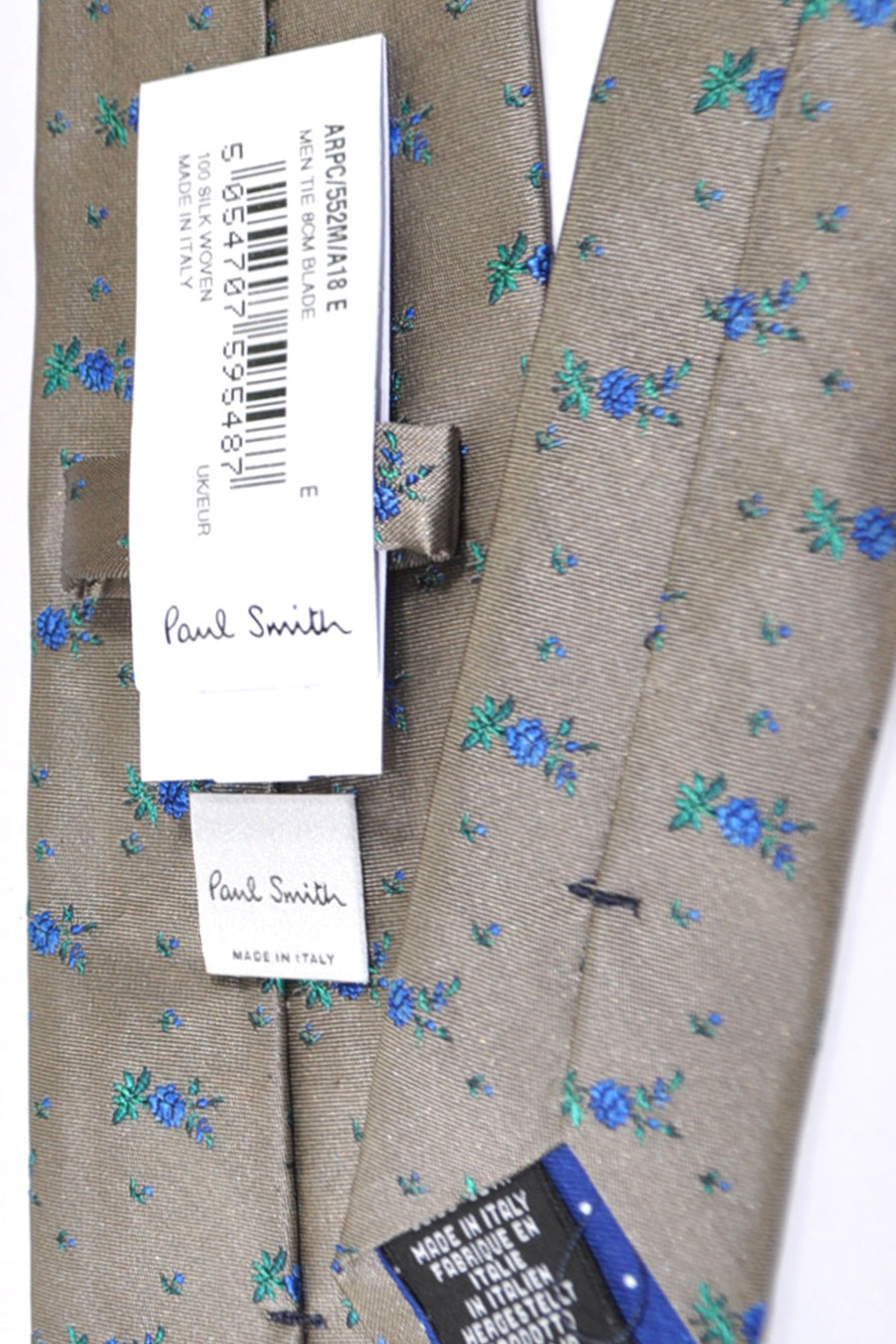 Paul Smith Tie Taupe Royal Blue Green Floral Print
