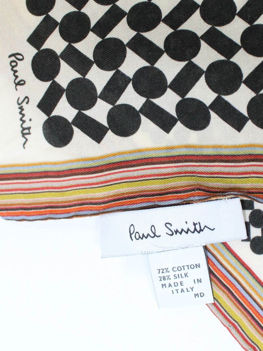 Paul Smith Scarf Geometric Design With Signature Stripe Edge