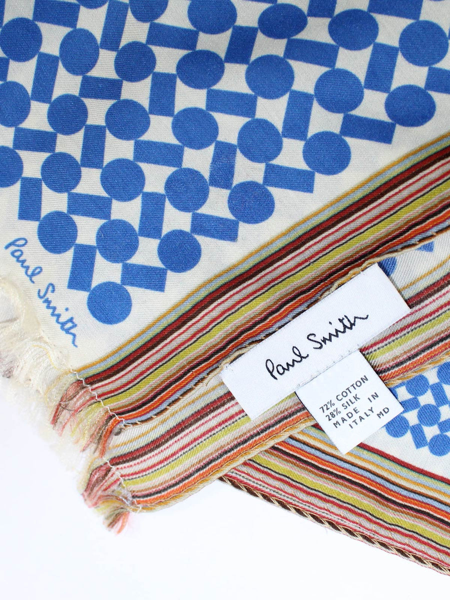 Paul Smith Scarf Geometric Blue Design With Signature Stripe Edge