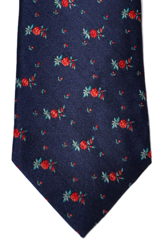 Paul Smith Tie Navy Red Floral Print - SALE