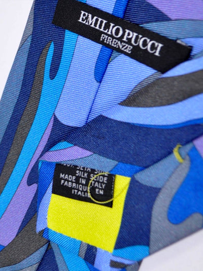 Emilio Pucci Silk Tie Navy Brown Aqua Dust Pink Gray Swirl