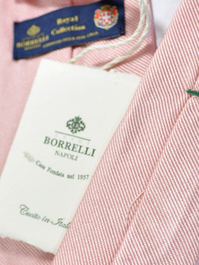 Luigi Borrelli Sevenfold Tie ROYAL COLLECTION Pink Solid Grosgrain SALE
