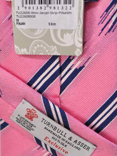 Turnbull & Asser Tie Pink Broken Stripes Motif - Wide Tie FINAL SALE