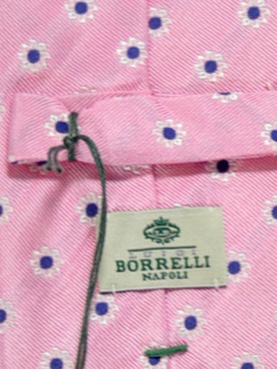 Luigi Borrelli Tie Pink Navy Silver Flowers FINAL SALE