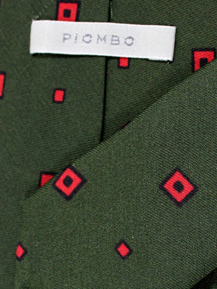 Piombo Silk Tie Forest Green Red Navy Squares Design