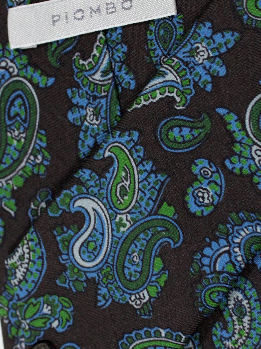 Piombo Silk Tie Brown Green Blue Paisley Design