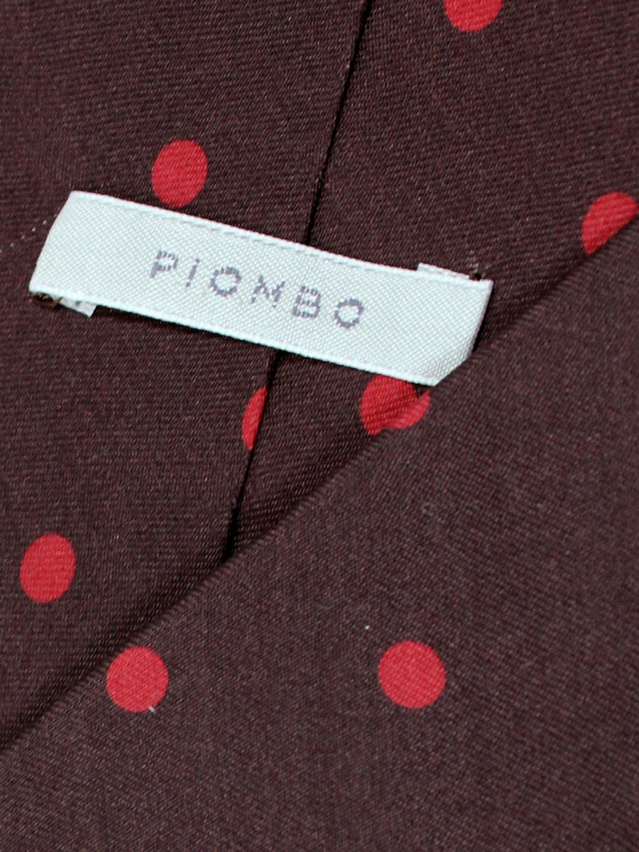 Piombo Silk Tie Brown Red Polka Dots Design