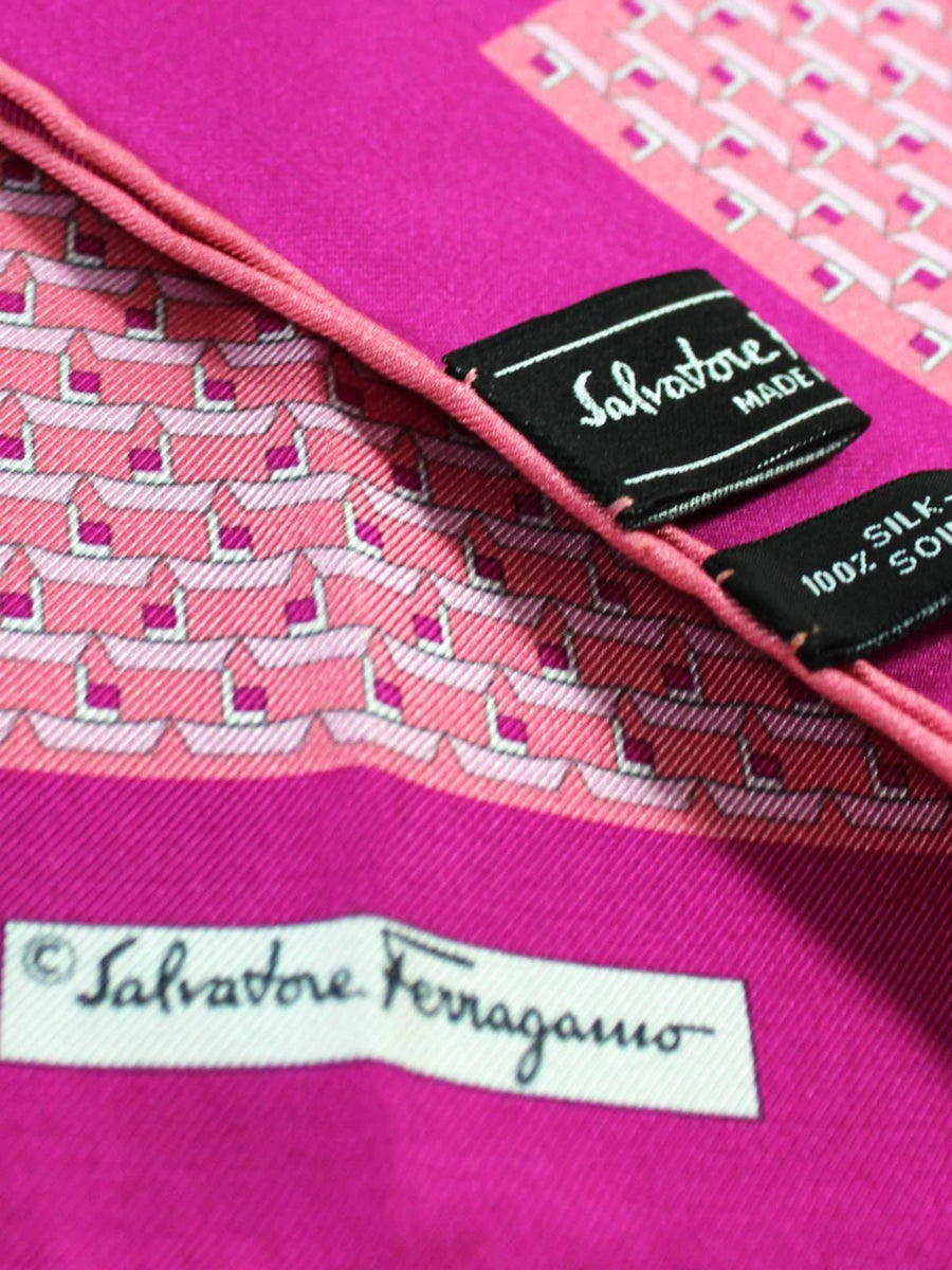 Salvatore Ferragamo Silk Pocket Square Pink Paper Boat Novelty FINAL SALE
