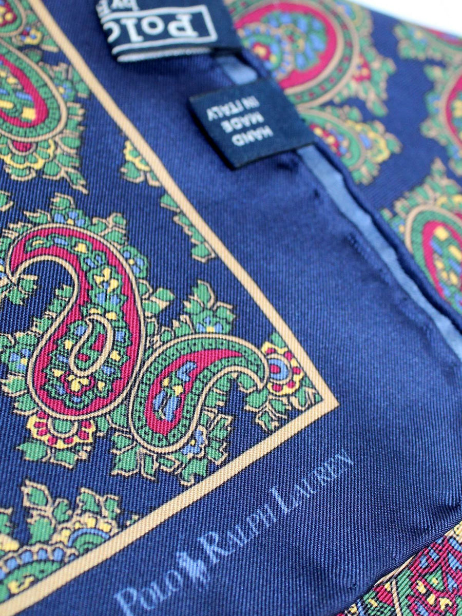 Polo Ralph Lauren Silk Pocket Square Classic Navy Green Maroon Paisley SALE