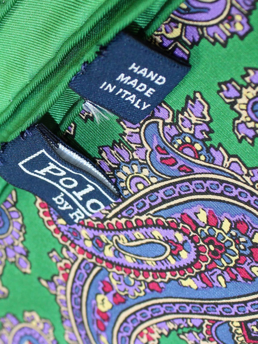 Polo Ralph Lauren Silk Pocket Square Green Lilac Paisley
