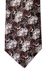 Prada Tie Brown Black Floral
