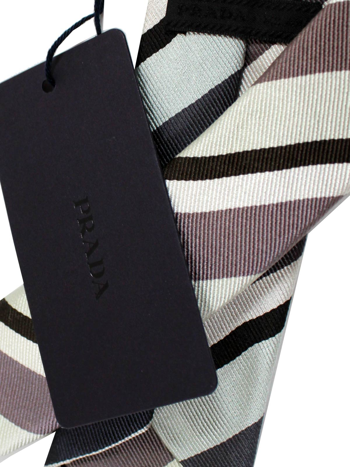 Prada Tie Taupe Mint Stripes