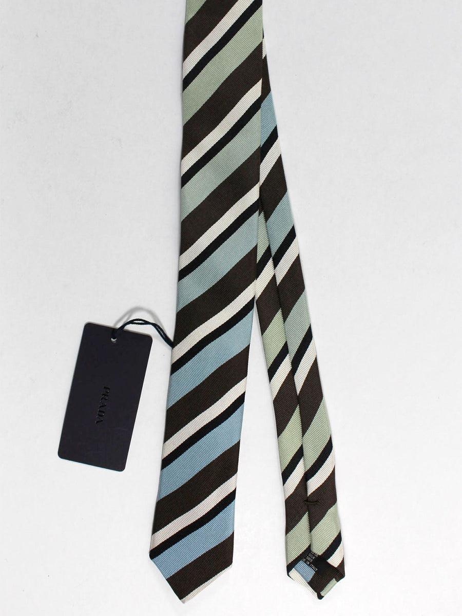 Prada Tie Brown Sky Blue Mint Stripes Design - Skinny Necktie