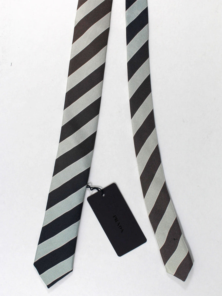 Prada Tie Mint Black Stripes Design - Skinny Necktie