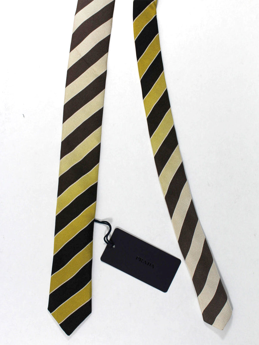 Prada Tie Black Taupe Stripes Design - Skinny Necktie