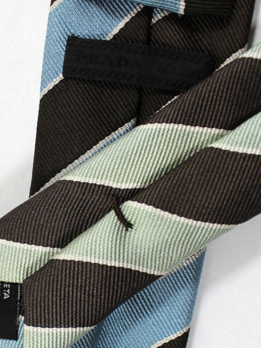 Prada Necktie Brown Sky Blue Silver Stripes Design - Skinny Tie