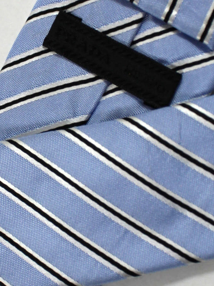Prada Necktie Sky Blue Black Silver Stripes Design - Skinny Tie