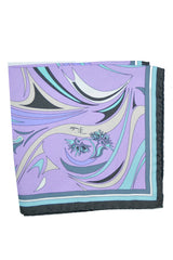 Emilio Pucci Pocket Square Lilac Aqua Gray