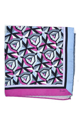 Emilio Pucci Pocket Square Fuchsia Gray Signature