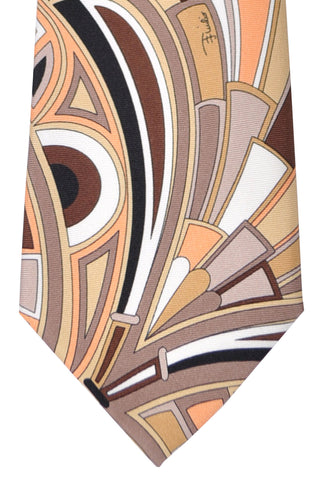 Emilio Pucci Silk Tie Cream Brown Peach Geometric SALE