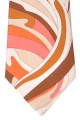 Emilio Pucci Silk Tie Orange Gray Cream Swirl