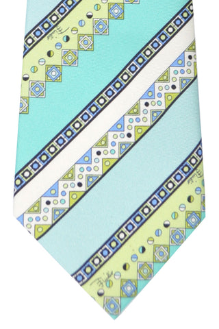 Emilio Pucci Silk Tie Sky Blue Mint Green Stripes