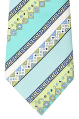 Copy of Emilio Pucci Silk Tie Sky Blue Navy Mint Stripes