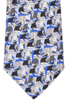 Emilio Pucci Silk Tie Gray Royal Blue Geometric