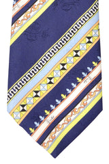 Emilio Pucci Silk Tie Navy Lime Stripes